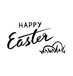Happy easter lettering and eggs for greeting card vector