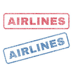 Airlines textile stamps vector