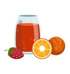 Orange and strawberry smoothie non-alcoholic vector