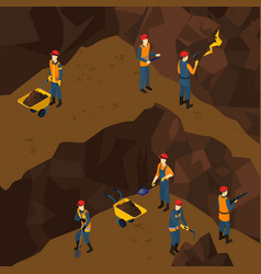 Isometric working miner people concept vector