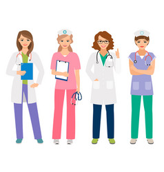 Young female doctor and nurse characters vector