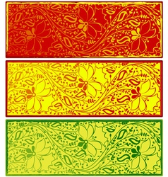 Banners with Floral indian ornaments vector image