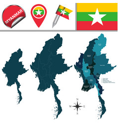Map of myanmar with divisions vector