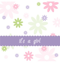 Floral pattern and baby girl arrival card vector