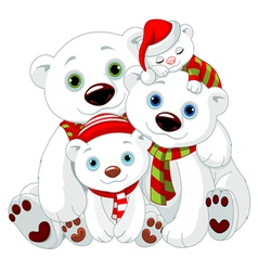 Big polar bear family at christmas vector