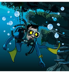 Frightened diver under water vector