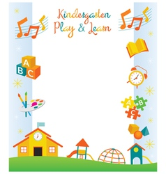 Kindergarten Preschool Kids Objects Frame vector image