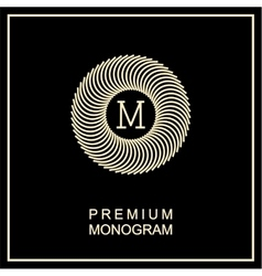 Stylish monogram  logo in art nouveau style vector