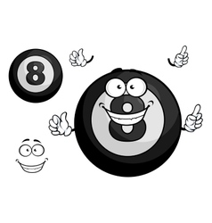 Black billiard eight ball cartoon character vector image