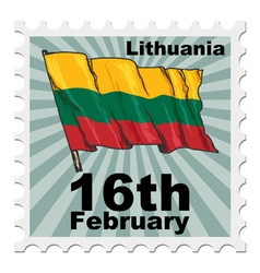 Post stamp of national day of lithuania vector