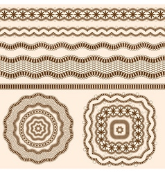 Ribbons and rosettes of lace seamless band vector