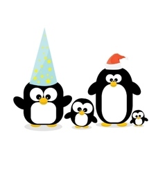 Merry christmas card with penguins set vector