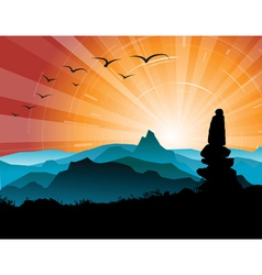 Mountains and sunsets vector