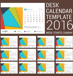 Desk calendar for 2016 year stationery design vector