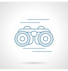 Blue flat line binoculars icon vector