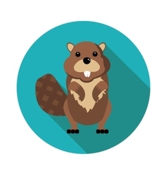 Flat icons beaver vector