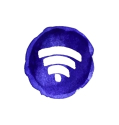 Wireless network symbol on bright blue watercolor vector