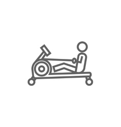 Man exercising with gym apparatus line icon vector