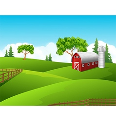 Beautiful farm landscape background vector image