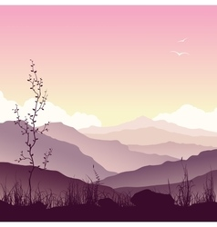 Mountain landscape with grass and tree vector