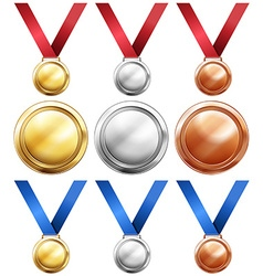 Three kind of medals with red and blue ribbon vector image