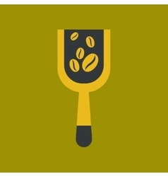 Flat icon on background scoop coffee roasting vector
