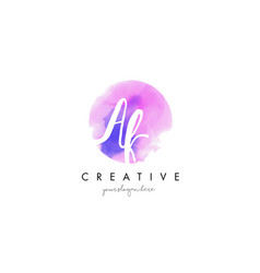 Ak watercolor letter logo design with purple vector