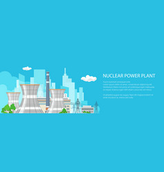 banner with nuclear power plant vector image vector image