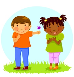 Boy gives flower to girl vector