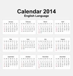Calendar 2014 English Type 11 vector image vector image