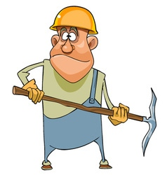 Cartoon man working in a helmet and with pick vector image vector image