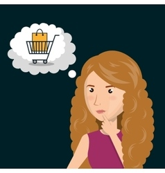 Cartoon woman thinking e-commerce isolated design vector