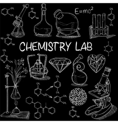 Chemistry lab sketch set vector