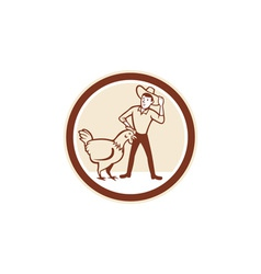 Chicken farmer feeder cirlce cartoon vector