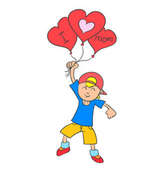 Collection stock boy with balloon for mother vector