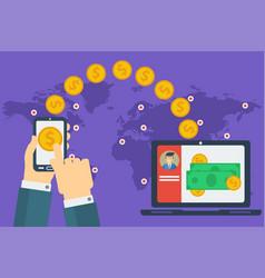 Concept of easy money transfer vector