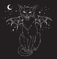 creepy black cat with monster wings over night sky vector image