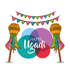 Happy ugadi new year celebration religious party vector