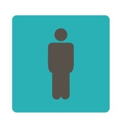 Man flat grey and cyan colors rounded button vector