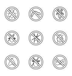 No insects icons set outline style vector