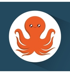 Octopus cartoon over circle icon graphic vector