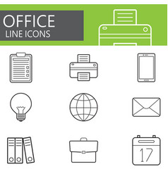 office line icons set outline symbol vector image vector image