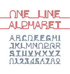 one line alphabet and numbers one single vector image vector image