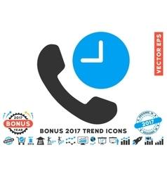 Phone time flat icon with 2017 bonus trend vector