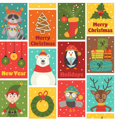 seamless pattern with winter holiday characters vector image vector image