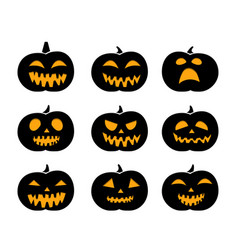 set of black silhouette pumpkins vector image