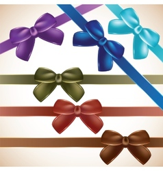 Set of colorful gift bows vector image