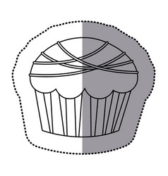 Silhouette muffin with chocolate icon vector