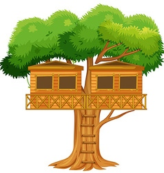 Two treehouses in the tree vector