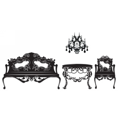 Vintage baroque sofa and armchairs set vector